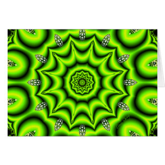 Spring Garden Mandala, Bright Abstract Lime Greeting Card