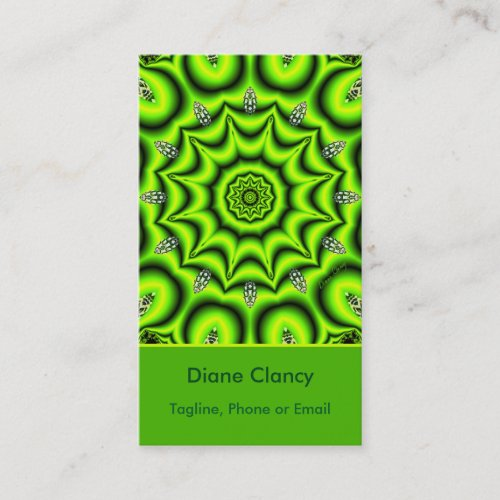 Spring Garden Mandala, Bright Abstract Lime Green Business Card