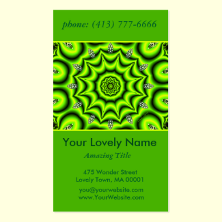 Spring Garden Mandala, Bright Abstract Lime Green Double-Sided Standard Business Cards (Pack Of 100)