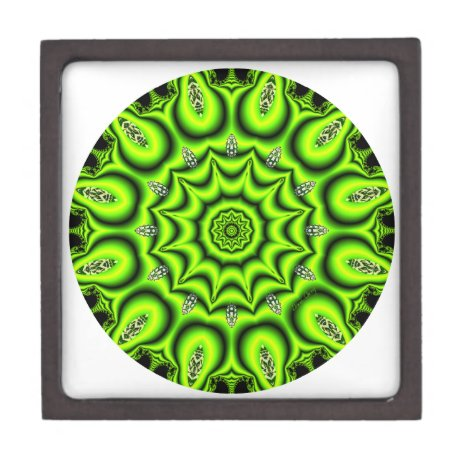 Spring Garden Mandala, Bright Abstract Lime Jewelry Box