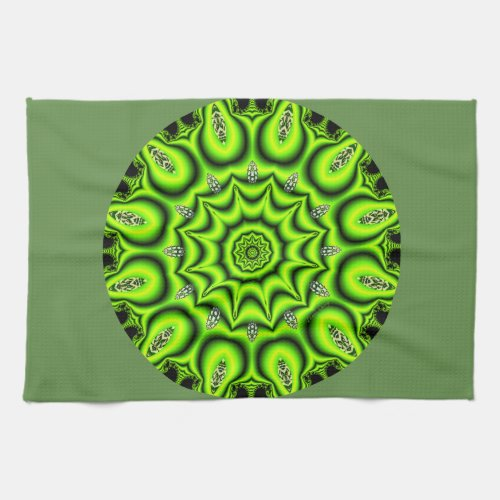 Spring Garden Mandala, Bright Abstract Lime Kitchen Towel