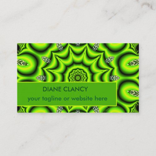 Spring Garden Mandala, Bright Abstract Lime Modern Business Card