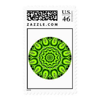 Spring Garden Mandala, Bright Abstract Lime Postage Stamps