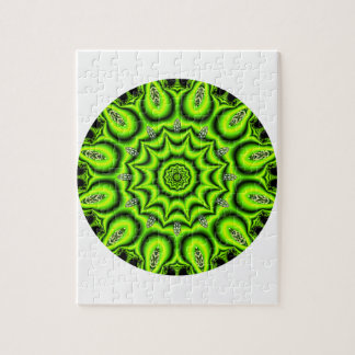 Spring Garden Mandala, Bright Abstract Lime Puzzles