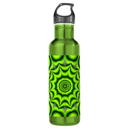 Spring Garden Mandala, Bright Abstract Lime Stainless Steel Water Bottle