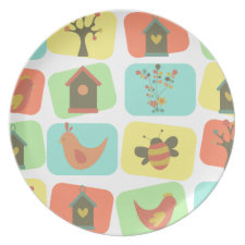 Spring Garden of Squares Plate
