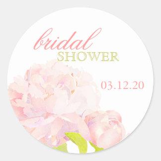 Spring Garden Peony Bridal Shower Invitation Classic Round Sticker