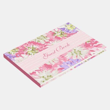 Spring Garden Pretty Pink Floral Guest Book