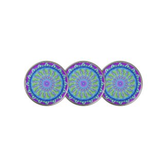 Spring Garden Purple & Green Mandala Golf Ball Marker