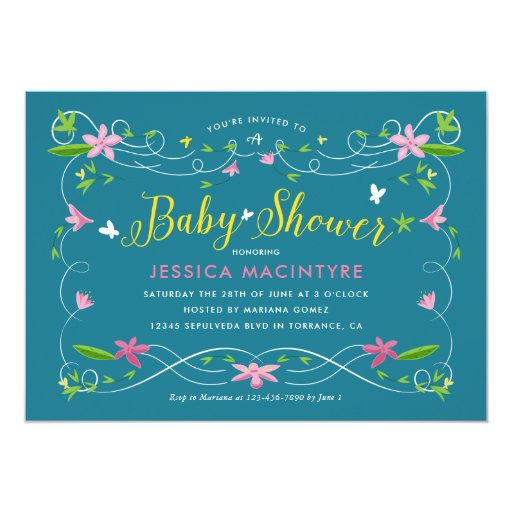 Spring Garden Turquoise Yellow Gender Baby Shower Card