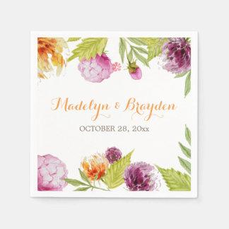 Spring Garden Watercolor Painted Floral Napkin