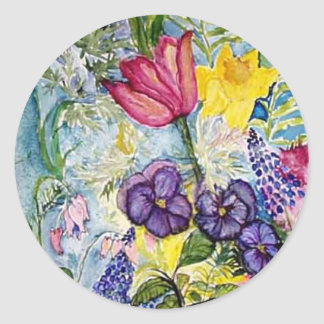 Spring Garden Watercolor Painting Classic Round Sticker