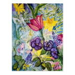 Spring Garden Watercolor Painting Postcard