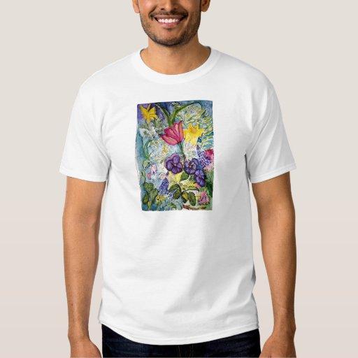 Spring Garden Watercolor Painting Tee Shirt