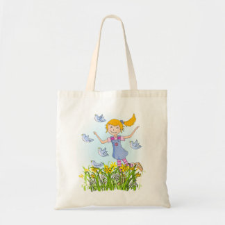 Spring girl chasing birds in daffodils bag