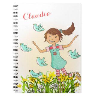 Spring girl chasing birds kids notebook