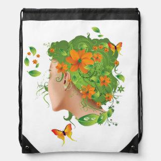 Spring girl drawstring backpack