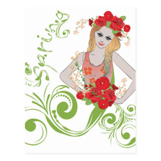 Spring Girl with Flowers2 Postcard