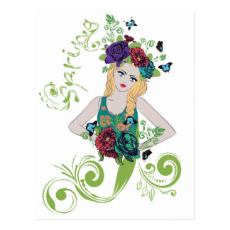 Spring Girl with Flowers Postcard