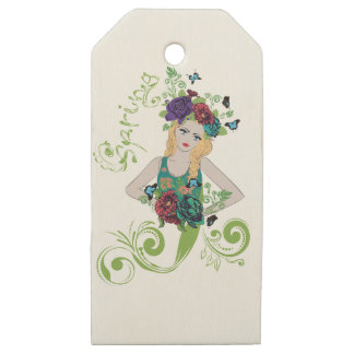 Spring Girl with Flowers Wooden Gift Tags