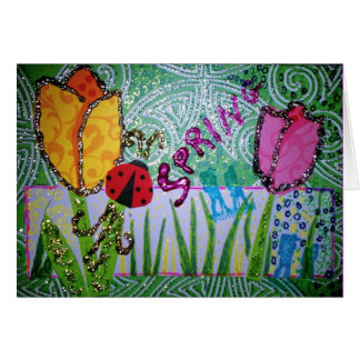 Spring Glitter Collage Card