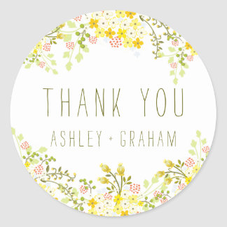 Spring Glory Floral Wedding Personalized Thank You Classic Round Sticker