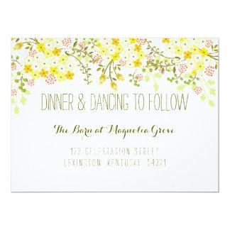 Spring Glory Yellow Floral Wedding Reception Card