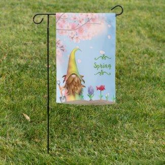 Spring Gnome Garden Flag