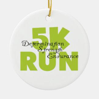 Spring Green 5K Run Ceramic Ornament