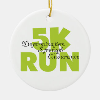 Spring Green 5K Run Double-Sided Ceramic Round Christmas Ornament