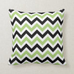 Spring Green and Black Chevron Pattern Pillow