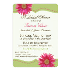 Spring Green and Fuschia Pink Daisy Bridal Shower 5x7 Paper Invitation Card at Zazzle
