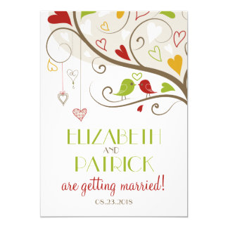 Spring Green and Red Cute Lovebirds Wedding Card