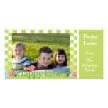 Spring Green and White Checkers Easter Eggs Photo Cards