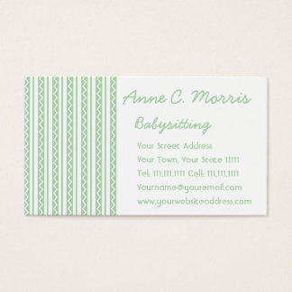 Spring Green and White Zig Zag Stripes Business Card