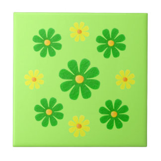Spring green and yellow flowers for kitchen tile