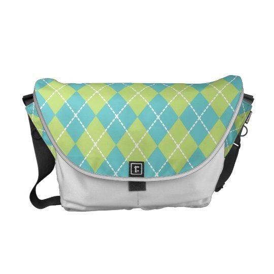 Spring Green Argyle Messenger Bag