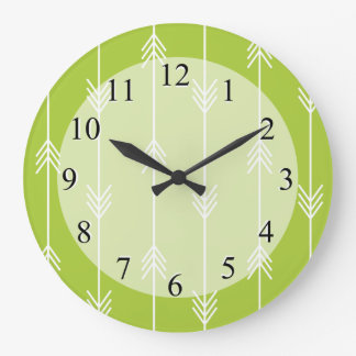 Spring Green Arrow Pattern Large Clock