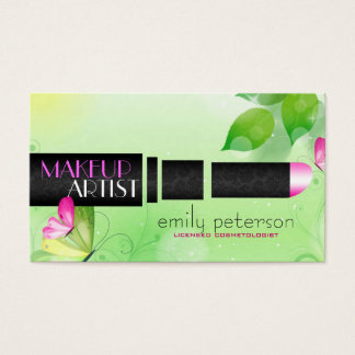 Spring Green Background With Black Beauty Symbol Business Card