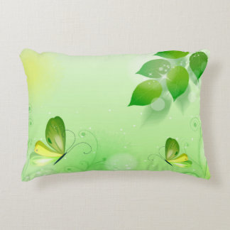 Spring Green Background With Butterfly Accent Pillow