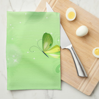 Spring Green Background With Butterfly Hand Towels