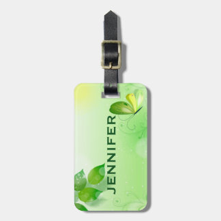 Spring Green Background With Butterfly Luggage Tag