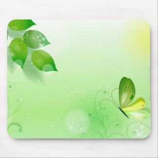 Spring Green Background With Butterfly Mouse Pad