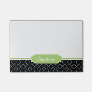 Spring Green Black Quatrefoil Monogram Post-it® Notes
