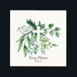 """Spring Green Botanical Cross First Holy Communion Napkin<br><div class=""""desc"""">Simple and elegant,  these Spring Green Botanical Cross First Holy Communion paper napkins are the perfect addition to celebrating your child&#39;s first holy communion,  baptism,  or christening.  All black typography is changeable.  Matches our other botanical cross design products.</div>"""