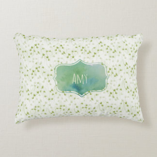 Spring Green Chevron Print with Watercolor Badge Decorative Pillow