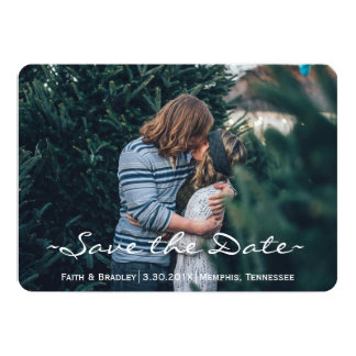 Spring Green & Chocolate SAVE THE DATE Photo Card