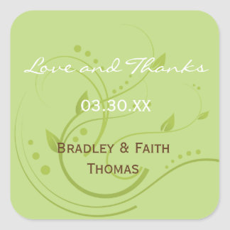 Spring Green & Chocolate Wedding Collection Favor Square Sticker