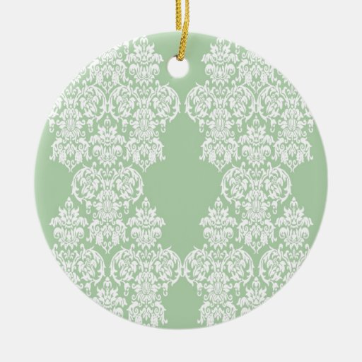Spring Green Damask Christmas Ornaments