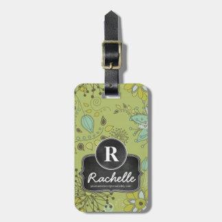 Spring Green Floral Design Monogram Designer Travel Bag Tag